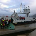 Riders leaving the Corran Ferry