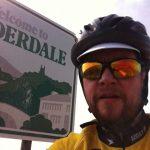 Cyclist at Calderdale sign